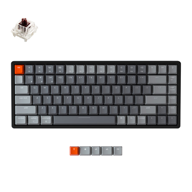 Keychron K2 wireless mechanical keyboard for Mac Windows iOS Gateron switch brown with type-C RGB white backlight aluminum frame