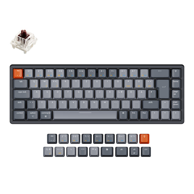Keychron K6 65 percent compact wireless mechanical keyboard for Mac Windows iPad tablet German ISO-DE layout Gateron mechanical brown switch with RGB backlight aluminum frame hot-swappable