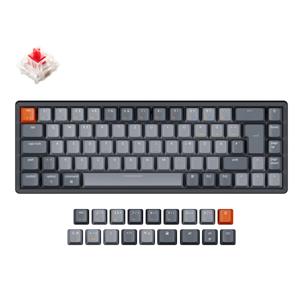 Keychron K6 65 percent compact wireless mechanical keyboard for Mac Windows iPad tablet German ISO-DE layout Gateron mechanical red switch with RGB backlight aluminum frame hot-swappable