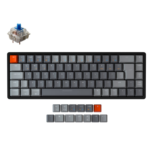 Keychron K6 65 percent compact wireless mechanical keyboard for Mac Windows iPad tablet UK ISO layout Gateron mechanical blue switch with RGB backlight with aluminum frame and hot-swappable