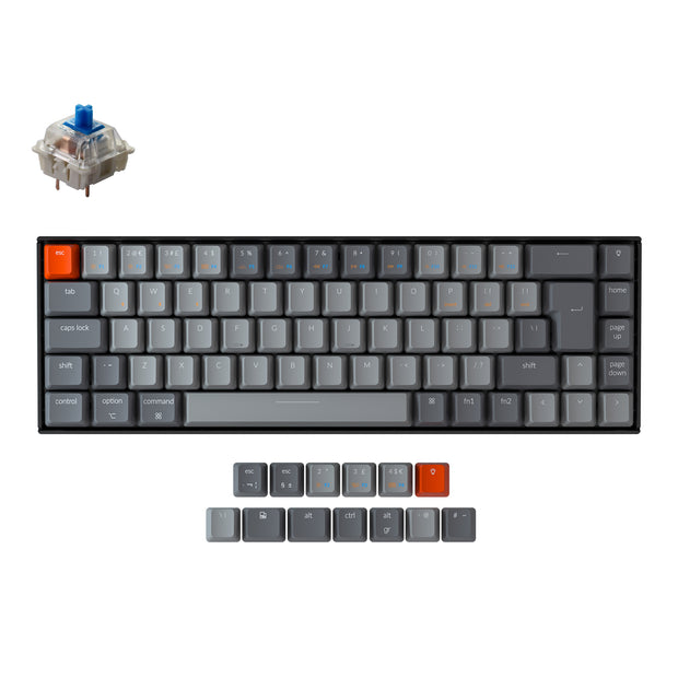 Keychron K6 65 percent compact wireless mechanical keyboard for Mac Windows iPad tablet UK ISO layout Gateron mechanical blue switch with RGB backlight and hot-swappable