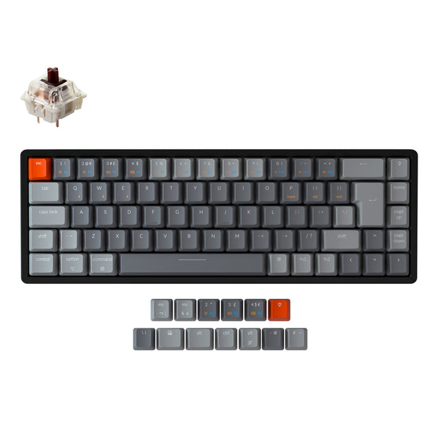 Keychron K6 65 percent compact wireless mechanical keyboard for Mac Windows iPad tablet UK ISO layout Gateron mechanical brown switch with RGB backlight with aluminum frame and hot-swappable