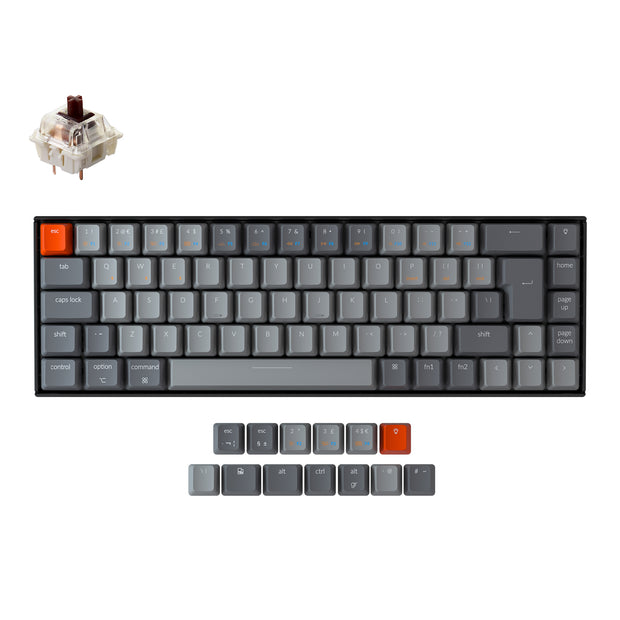 Keychron K6 65 percent compact wireless mechanical keyboard for Mac Windows iPad tablet UK ISO layout Gateron mechanical brown switch with RGB backlight and hot-swappable