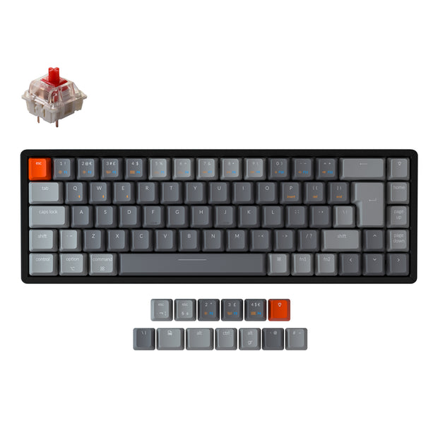 Keychron K6 65 percent compact wireless mechanical keyboard for Mac Windows iPad tablet UK ISO layout Gateron mechanical red switch with RGB backlight with aluminum frame and hot-swappable
