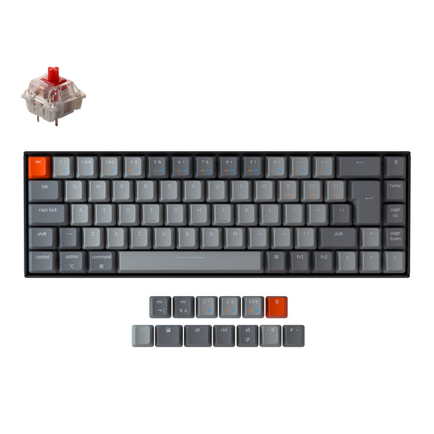 Keychron K6 65 percent compact wireless mechanical keyboard for Mac Windows iPad tablet UK ISO layout Gateron mechanical red switch with RGB backlight and hot-swappable