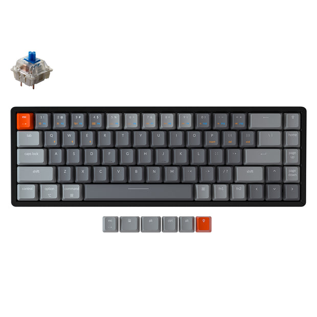 Keychron K6 hot-swappable compact 65% wireless mechanical keyboard for Mac Windows iOS Gateron switch blue with type-C RGB white backlight aluminum frame