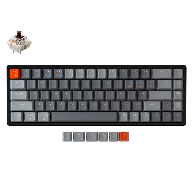 Keychron K6 hot-swappable compact 65% wireless mechanical keyboard for Mac Windows iOS Gateron switch brown with type-C RGB white backlight aluminum frame