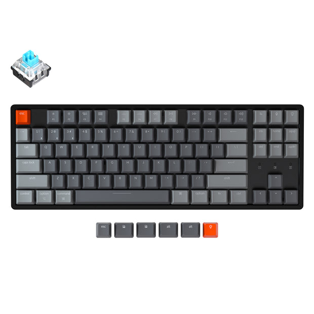 Keychron K8 tenkeyless wireless mechanical keyboard for Mac Windows iOS RGB white backlight aluminum frame with Hot-swappable Keychron Optical switch blue