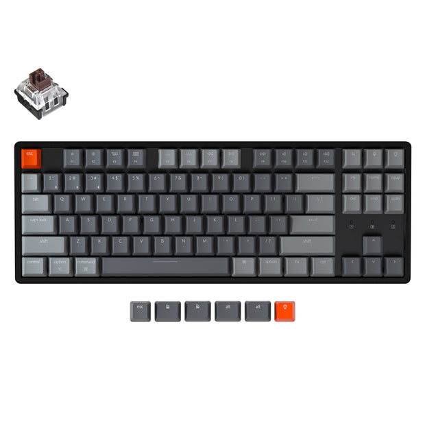 Keychron K8 tenkeyless wireless mechanical keyboard for Mac Windows iOS RGB white backlight aluminum frame with Hot-swappable Keychron Optical switch brown