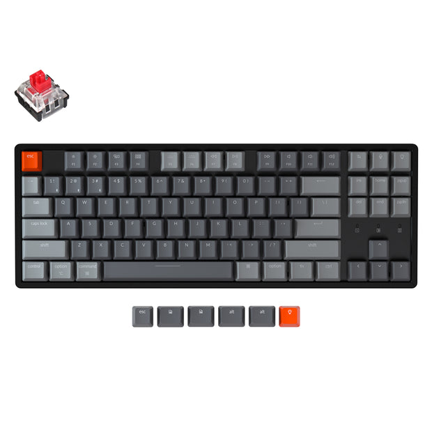 Keychron K8 tenkeyless wireless mechanical keyboard for Mac Windows iOS RGB white backlight aluminum frame with Hot-swappable Keychron Optical switch red