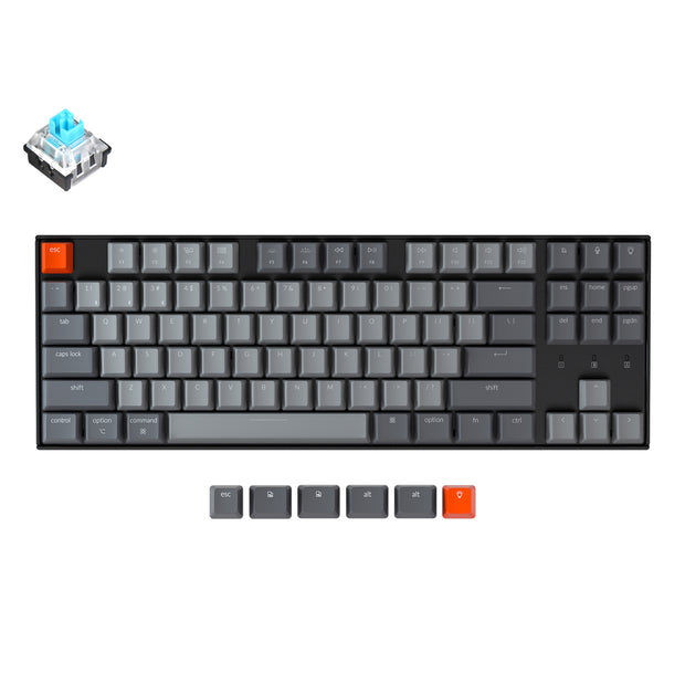 Keychron K8 tenkeyless wireless mechanical keyboard for Mac Windows iOS RGB white backlight with Hot-swappable Keychron Optical switch blue