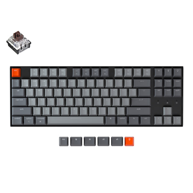 Keychron K8 tenkeyless wireless mechanical keyboard for Mac Windows iOS RGB white backlight with Hot-swappable Keychron Optical switch brown