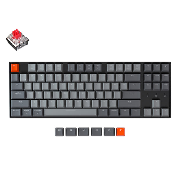 Keychron K8 tenkeyless wireless mechanical keyboard for Mac Windows iOS RGB white backlight with Hot-swappable Keychron Optical switch red