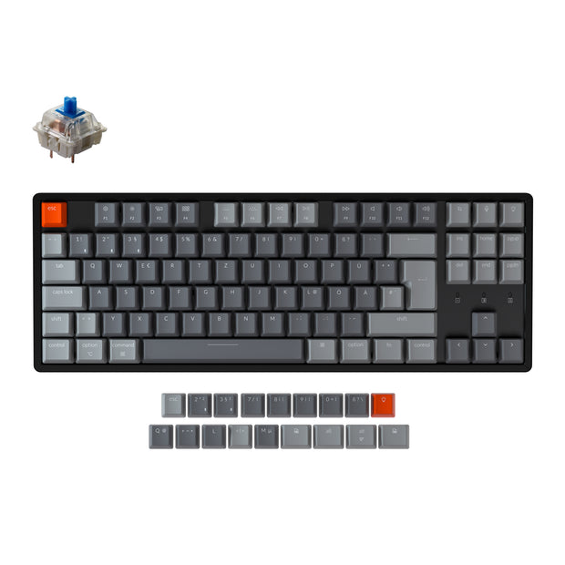 Keychron K8 Tenkeyless Wireless Mechanical Keyboard (German ISO-DE Layout) has included keycaps for both Windows and macOS, and users can hotswap every switch in seconds with the hot-swappable version.