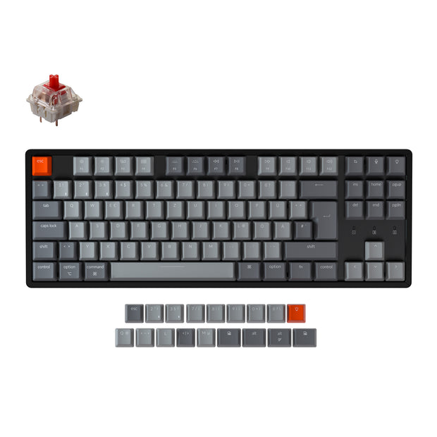 Keychron K8 Tenkeyless Wireless Mechanical Keyboard (German ISO-DE Layout) has included keycaps for both Windows and macOS, and users can hotswap every switch in seconds with the hot swappable version.