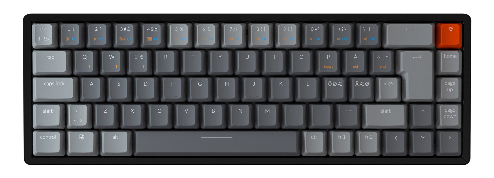 Keychron K6 65 percent compact wireless mechanical keyboard for Mac Windows iPad tablet Nordic layout Gateron mechanical brown switch with RGB backlight