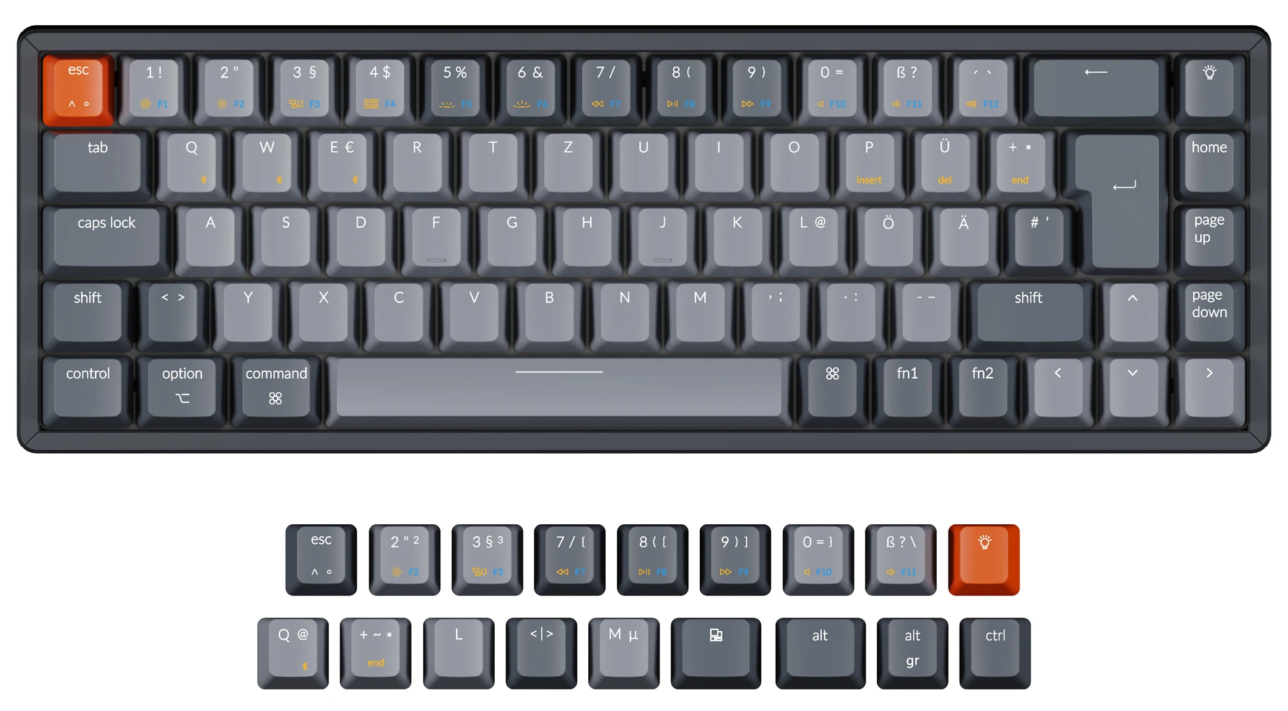 Keychron K6 65 percent compact wireless mechanical keyboard for Mac Windows German ISO-DE Layout Gateron mechanical LK optical switch and hot-swappable with RGB backlight aluminum frame with Windows keycaps installed