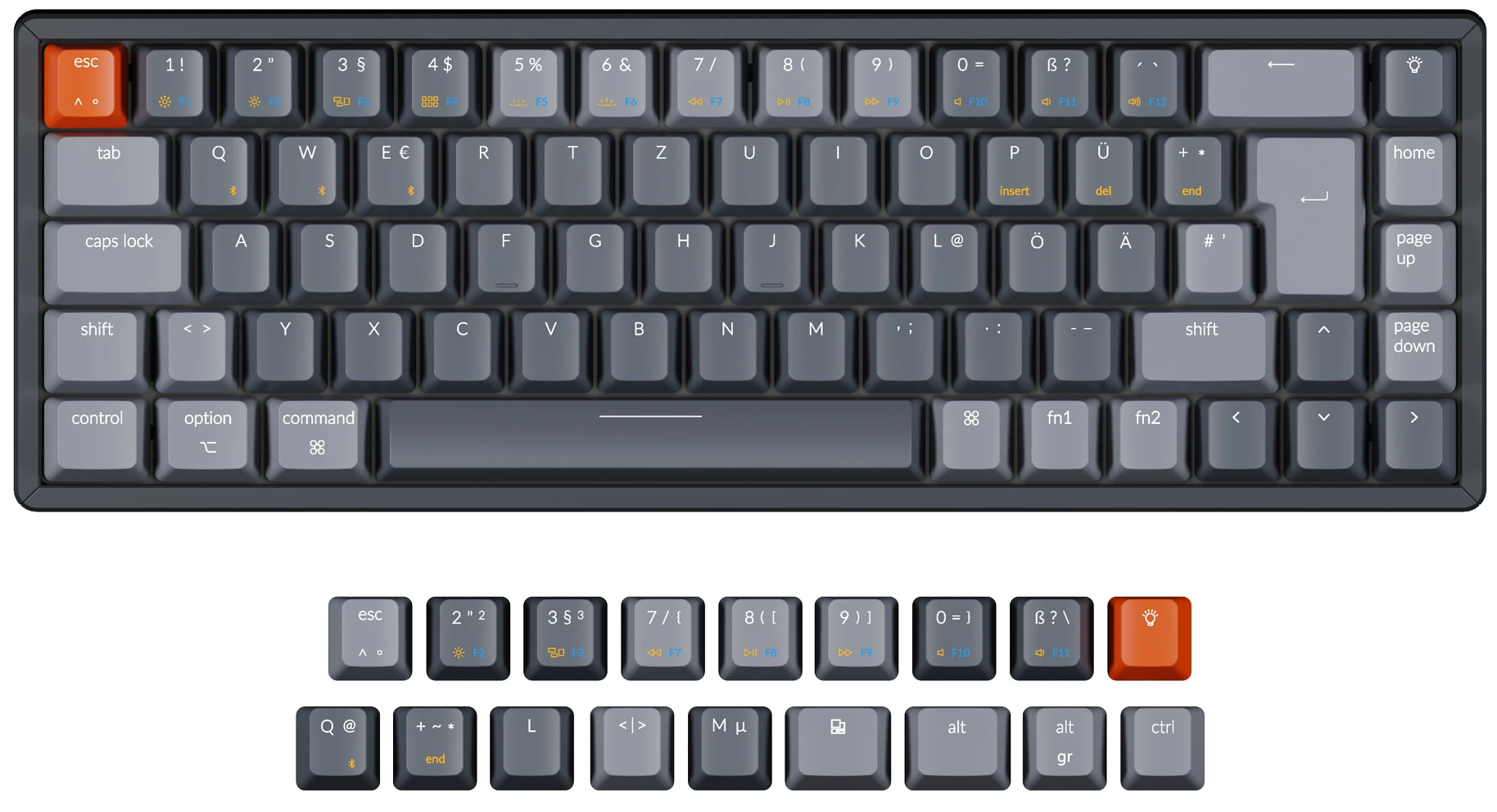 Keychron K6 65 percent compact wireless mechanical keyboard for Mac Windows German ISO-DE Layout Gateron mechanical LK optical switch and hot-swappable with RGB backlight aluminum frame with macOS keycaps installed