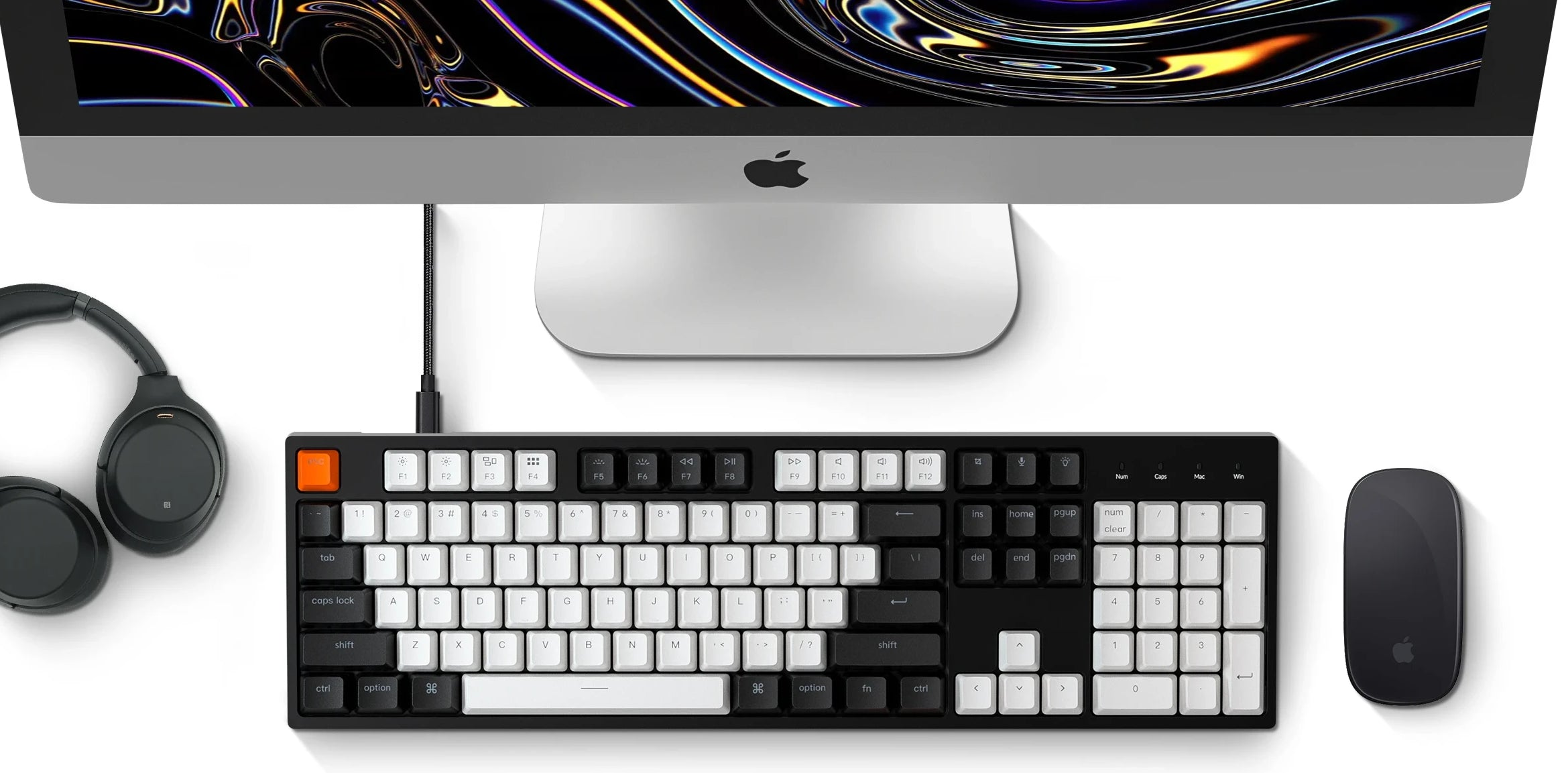 Keychron C2 hot-swappable wired type-c mechanical keyboard 104-keys full-size layout for Mac Windows iOS Gateron switch red blue brown RGB backlight