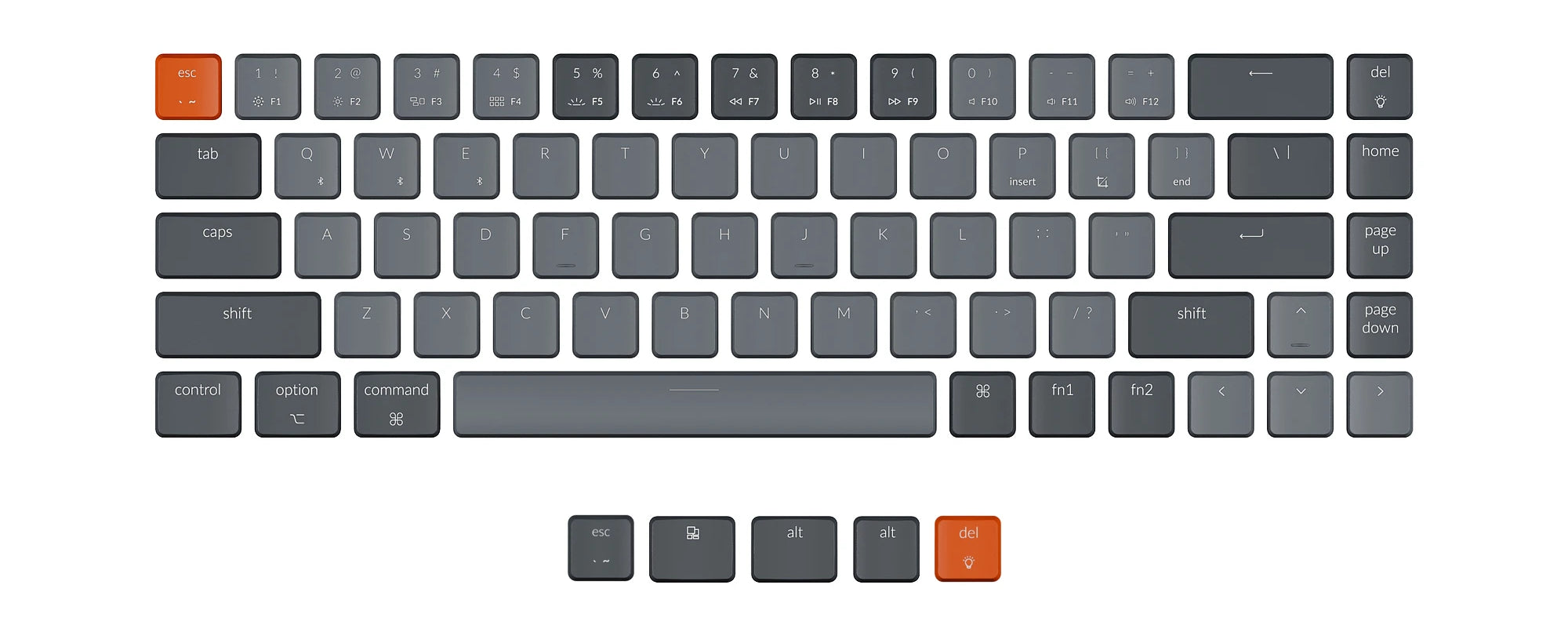 Keychron K7 ABS Keycap Set with light grey in the middle