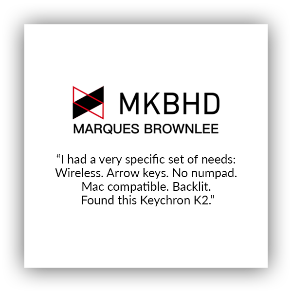 Keychron K2 wireless mechanical keyboard for Mac and windows covered by Marques brownlee MKBHD. I had a very specific set of needs: wireless, arrow keys, no numpad, Mac compatible, backlit, found this