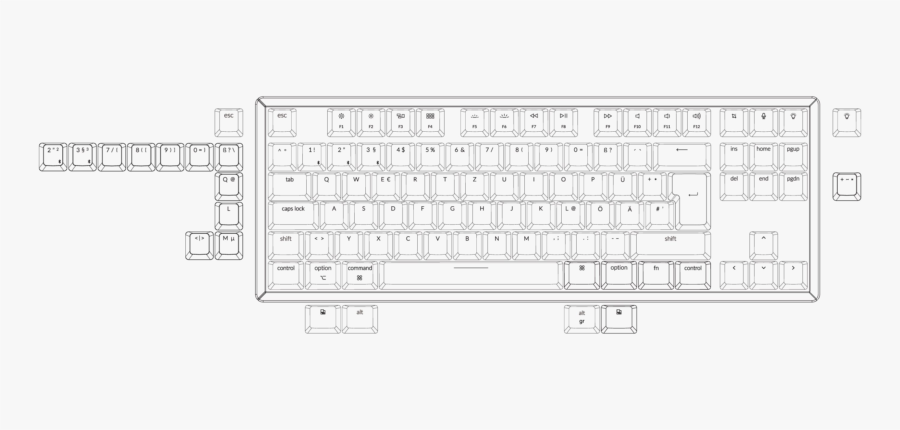 Keychron K8 tenkeyless wireless mechanical keyboard for Mac Windows iOS layout