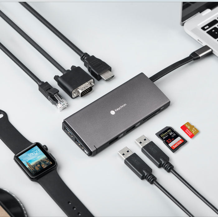 Keychron A Ten In ONE USB-C Hub for your Mac, iPad Pro or any other type-C devices support SD TF card VGA HDMI 4k 30hz RJ45 10M 100M PD charger
