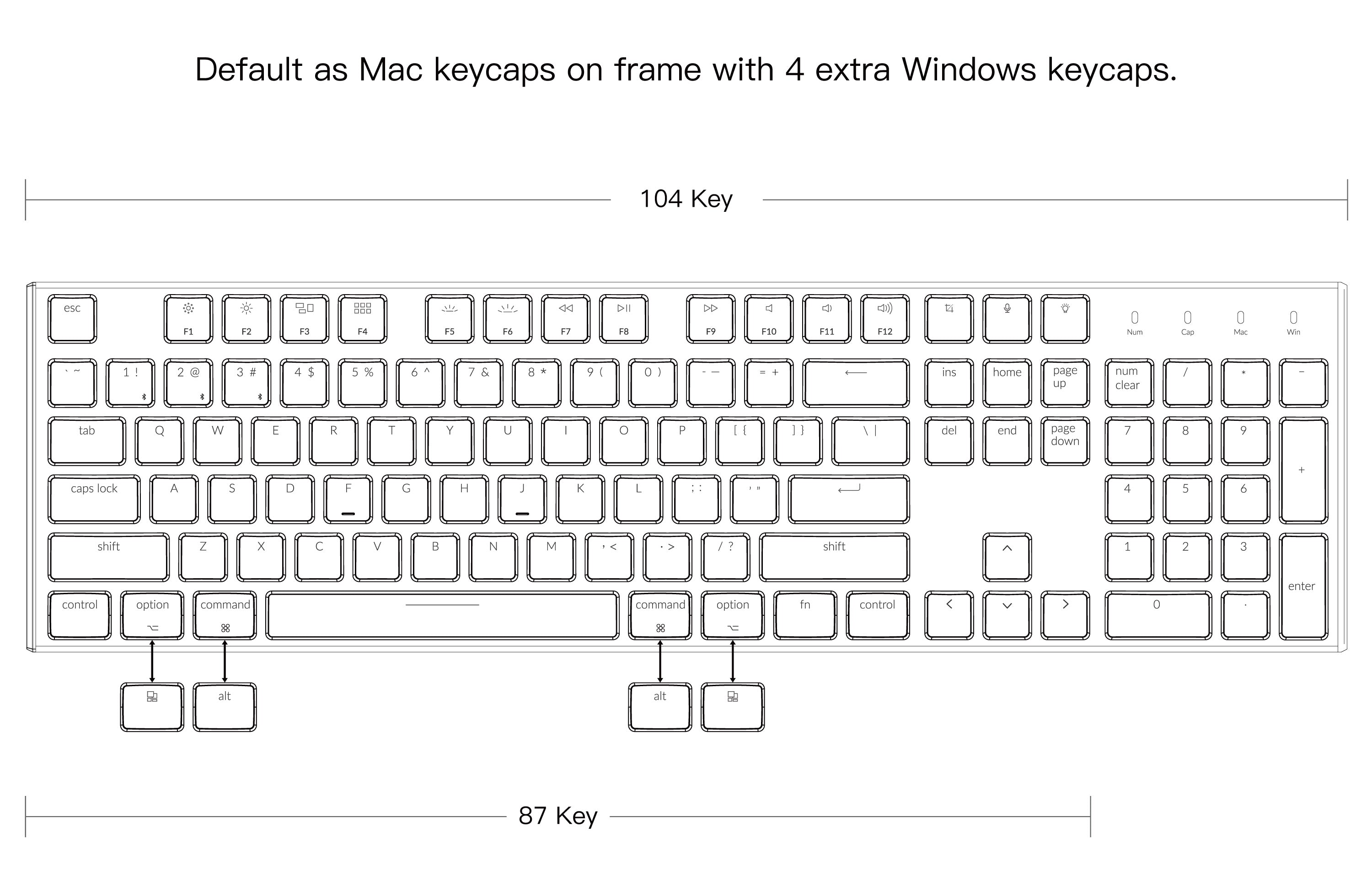Keychron K1 ultra-slim wireless mechanical keyboard 87 and 104 keys layout