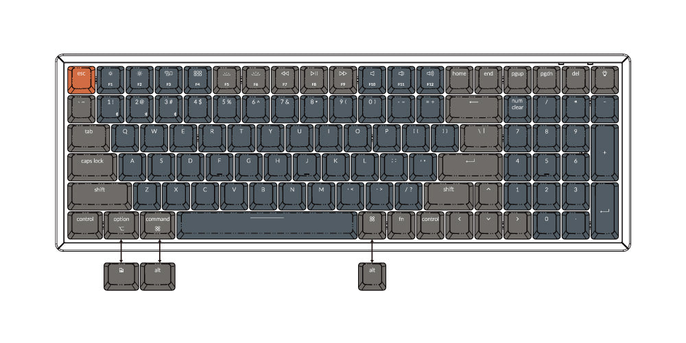 Keychron K4 96 percent wireless mechanical keyboard for Mac Windows Android - Gateron mechanical switch and LK optical switch  US ANSI layout for Mac and Windows