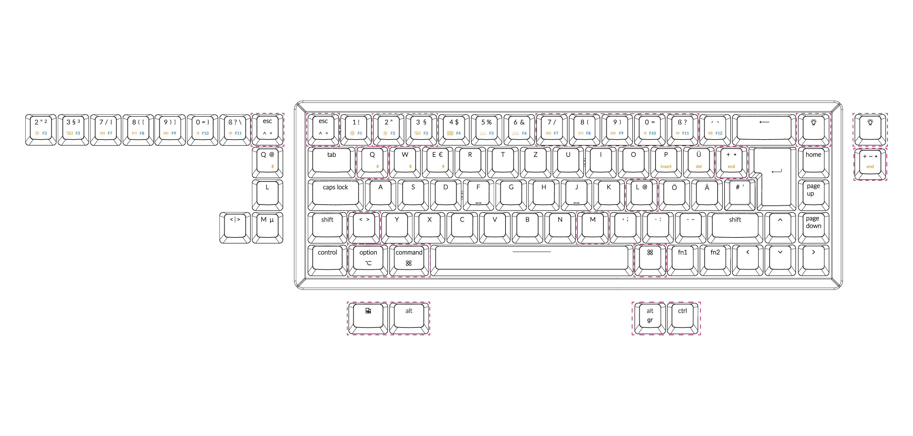 Keychron K6 65 percent compact wireless mechanical keyboard for Mac Windows German ISO-DE Layout Gateron mechanical LK optical switch and hot-swappable with RGB backlight aluminum frame layout and full compatible with Mac and Windows