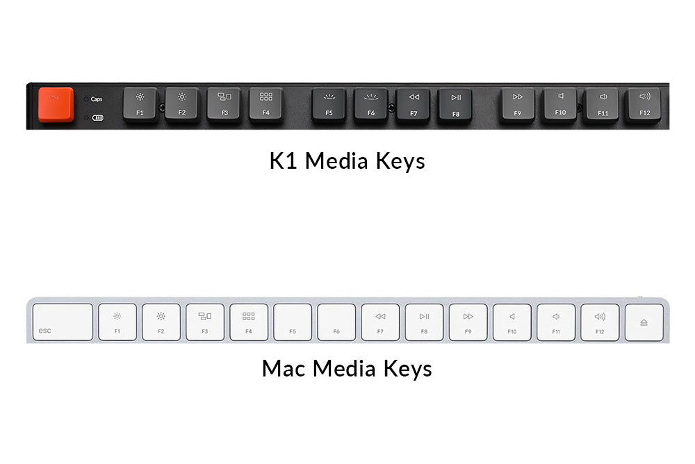 Keychron K1 ultra-slim wireless mechanical keyboard Mac layout multimedia keys
