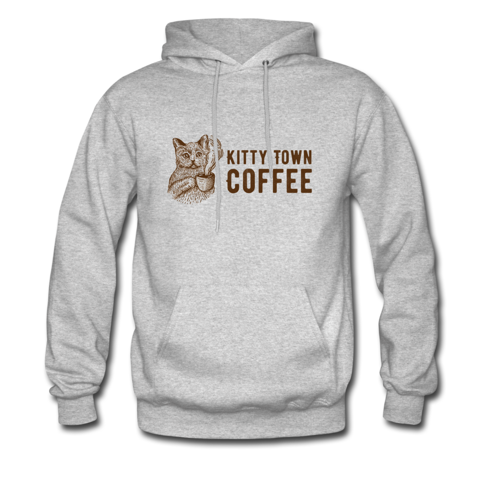 Kitty Town Coffee Hoodie - heather gray