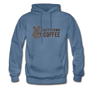 Kitty Town Coffee Hoodie - denim blue