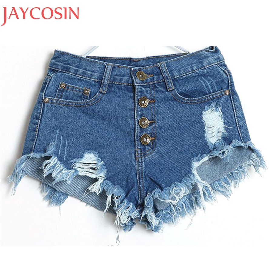 bf0998186 Summer Denim Shorts Women Fashion Ripped Hole Short Jeans Casual Lady High  Waist Skinny Tassel Shorts ...
