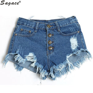 070b7940d Summer Denim Shorts Women Fashion Ripped Hole Short Jeans Casual Lady High  Waist Skinny Tassel Shorts