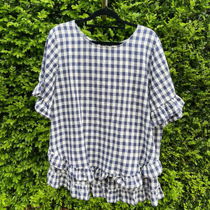 'TULLY' Top - Navy Gingham