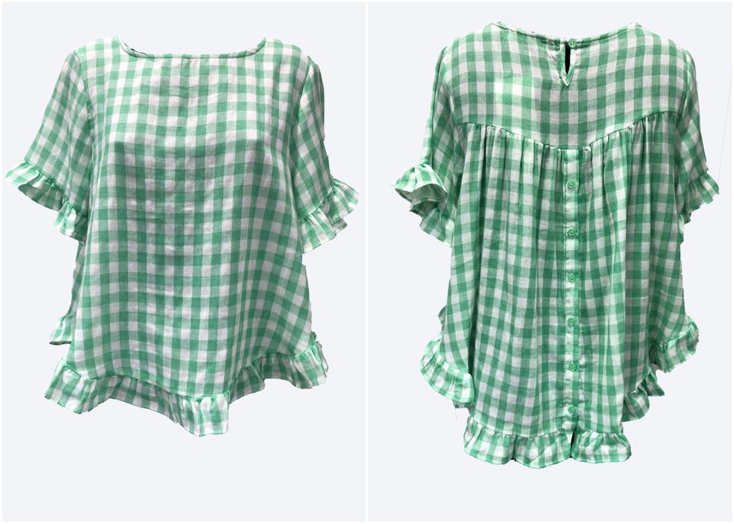 'TULLY' Top - Green Gingham