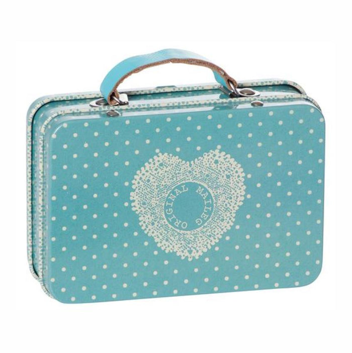 Maileg Suitcase, Blue Off-White