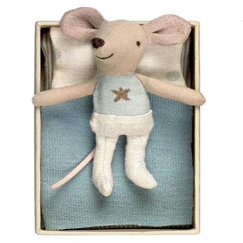 Maileg Little Brother Blue Star Mouse in Box