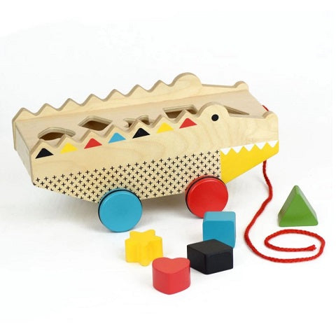Petit Collage Rock-N-Roll Alligator Shape Sorter Pull Along