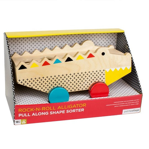 Petit Collage wooden alligator shape sorter & pull toy