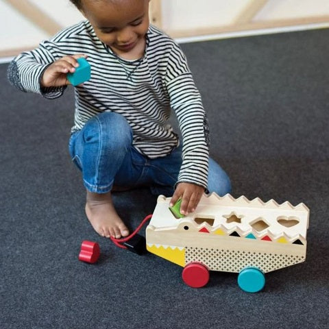 wooden alligator shape sorter & pull toy