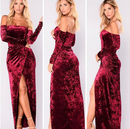 Crush On U Split Velour Maxi