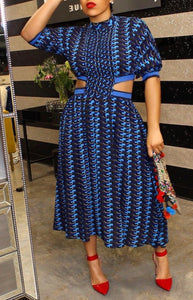 Peeping Blue Midi Dress