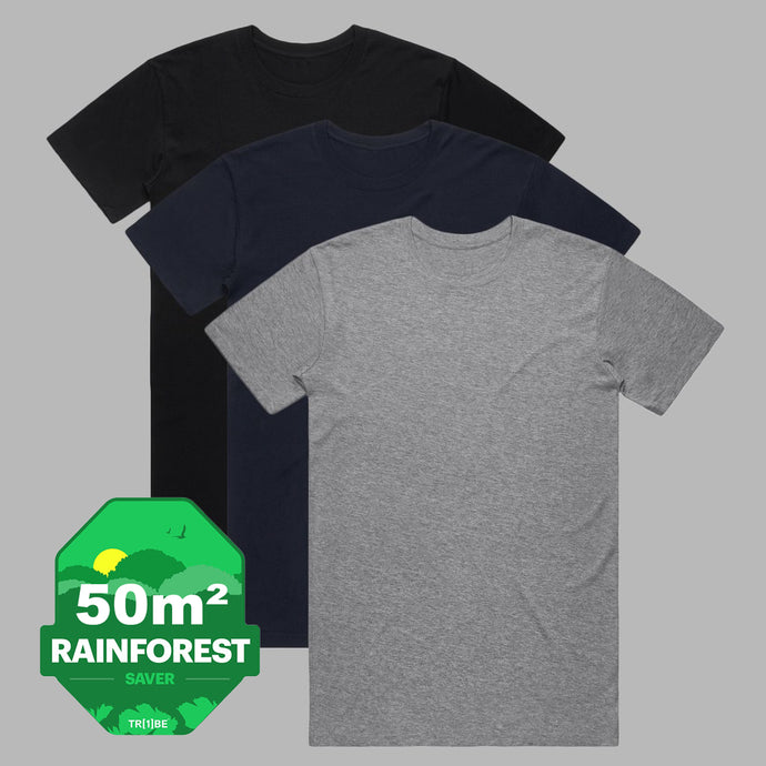 Front of 3 pack of premium organic cotton T Shirts in Black, Dark Navy and Grey Marl