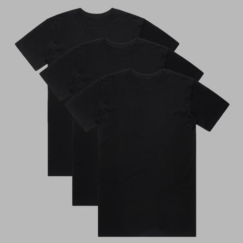 Premium Organic Cotton T-Shirts - Black - 3 Pack