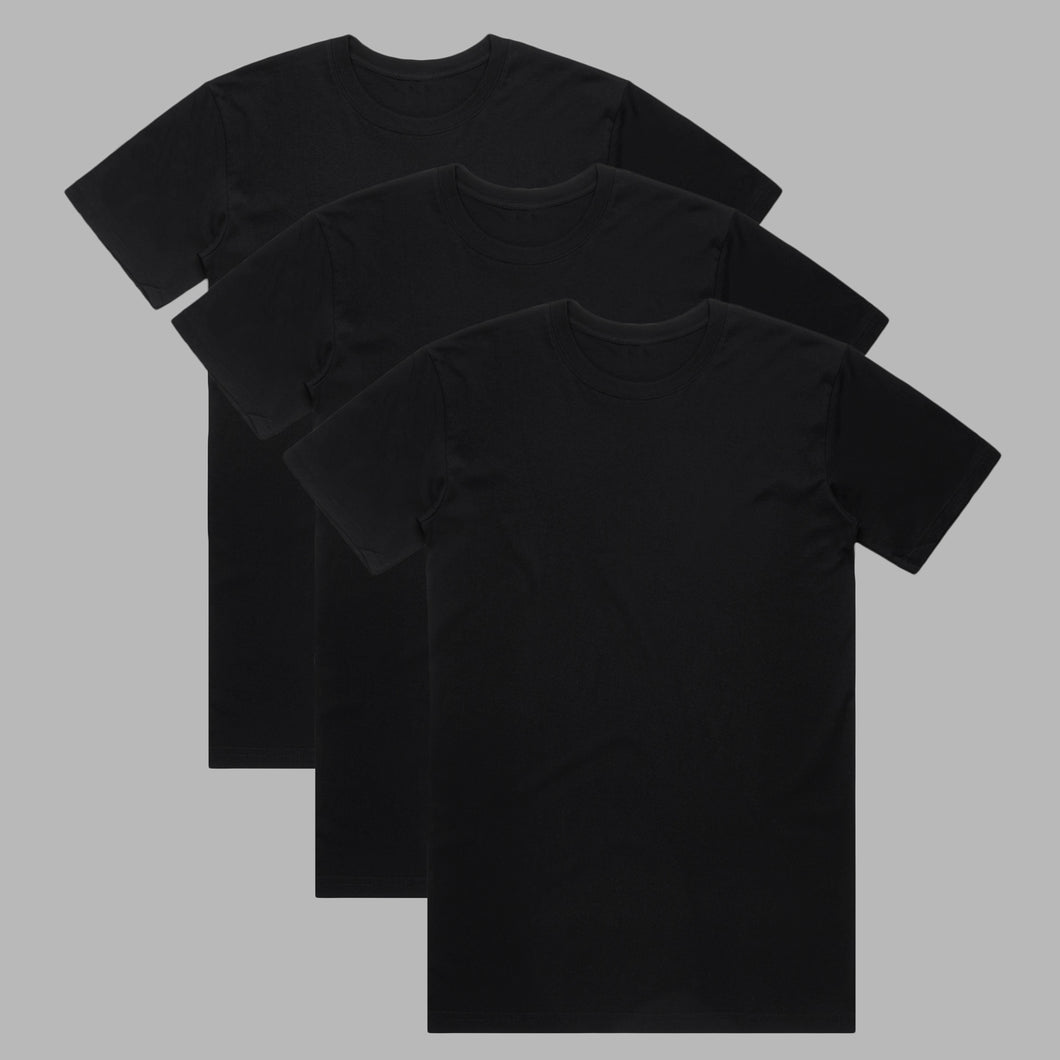 Front of Black premium organic cotton T Shirts in a 3 pack