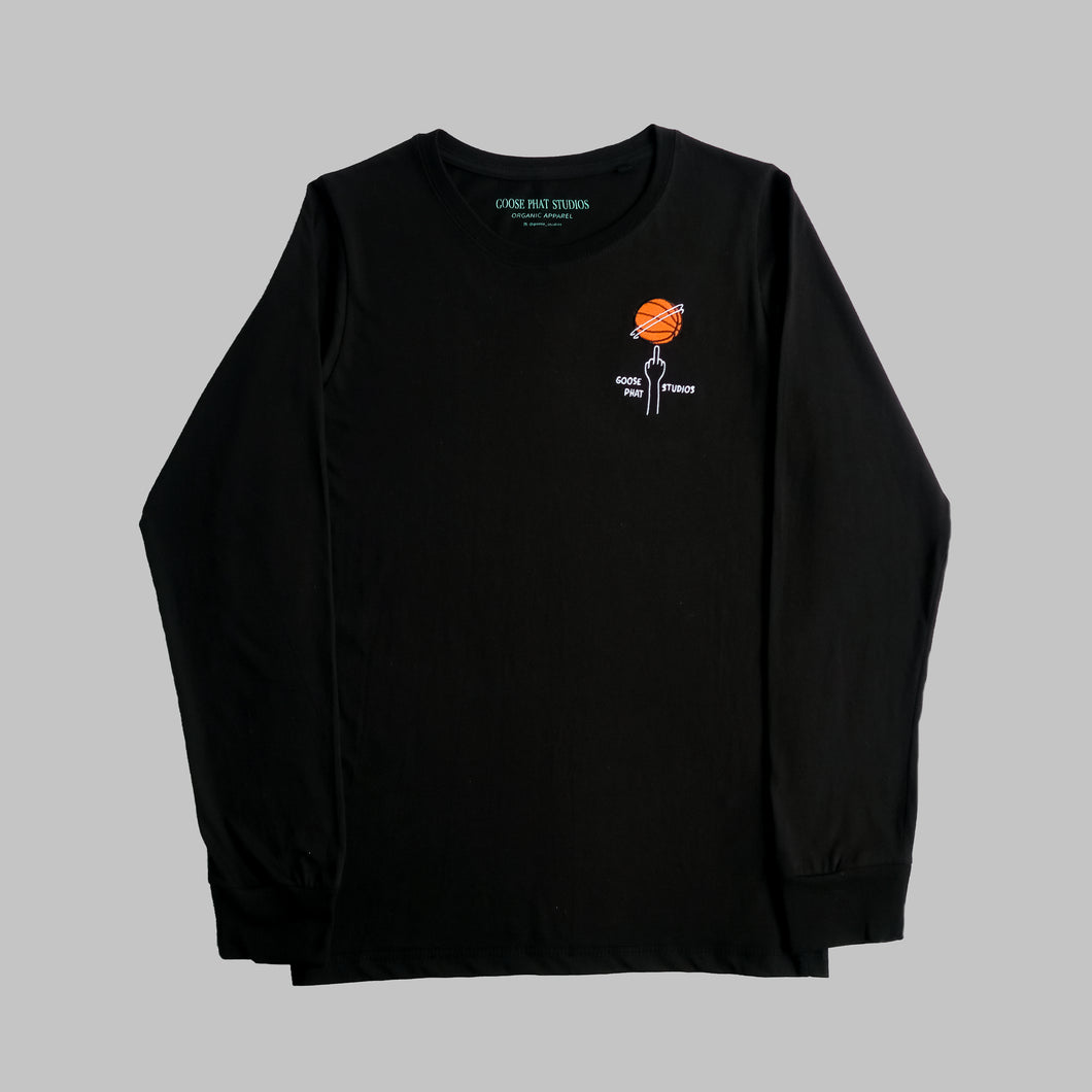 Front of black organic cotton long sleeve T Shirt with embroidered orange basketball logo