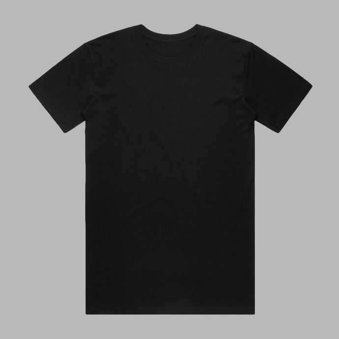 Front of black premium organic cotton T Shirt