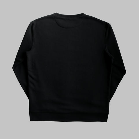 Long Sleeved Organic Cotton Embroidered Sweatshirt - Black
